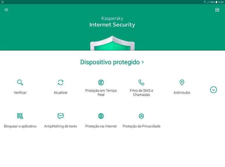 Kaspersky Internet Security content/pt-br/images/b2c/product-screenshot/4 FL19 Main UI full (green state) for Tab KISA PT-BR.png