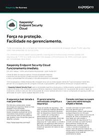 FOLHA DE DADOS DO KASPERSKY ENDPOINT SECURITY CLOUD