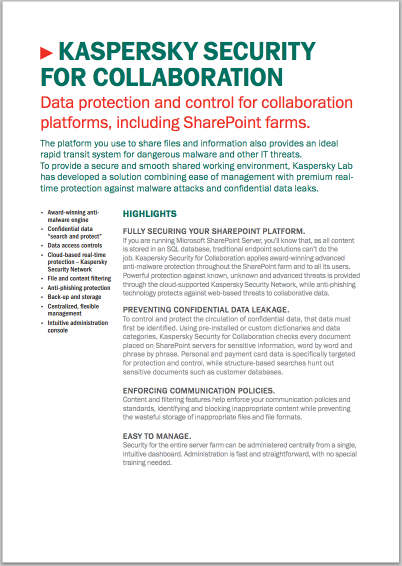 FOLHA DE DADOS DO KASPERSKY SECURITY FOR COLLABORATION