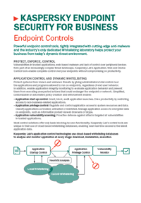 FOLHA DE DADOS DO KASPERSKY ENDPOINT SECURITY FOR BUSINESS CONTROL TOOLS